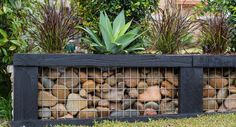 Create a stunning, affordable gabion garden wall is part of Rock garden Wall - Replace a damaged old garden wall with this rocksteady option! Rock Retaining Wall, Gabion Wall, Landscaping Retaining Walls, Front Yard Landscaping, Railroad Ties Landscaping, Landscaping Tips, Outdoor Landscaping, Railroad Tie Retaining Wall, Outdoor Plants