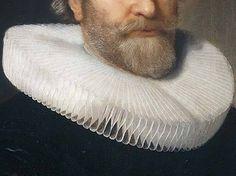 Bartholomeus van der Helst: Ritratto di Andries Bicher. Olio su tavola del 1642. Rijksmuseum, Amsterdam. Una bellissima e curata barba sale e pepe (ha 56 anni Andries Bicher) con i mustacchi a punta in su, si appoggia sull'ampia gorgiera. I vestiti di questo periodo, sempre neri, sembrano fatti apposta per valorizzare al massimo il candore dei grandi colli inamidati.
