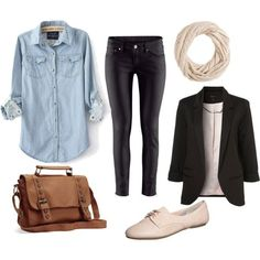 Nude, black, jeans Outfit - Polyvore | Style ideas | Pinterest