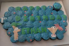 Phineas and Ferb cupcake cake