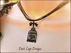 Noir / Black Filigree Gothic Birdcage Necklace by DarkCageDesigns