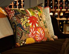 Wine room by Traci Zeller Designs.  Pillows are Lacefield Designs and Schumacher's Chiang Mai Dragon.