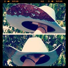 Custom hat made by Melloworks. This is the hat designs I was talking about. This is the place in Cal Cowgirl Hats, Western Hats, Cowgirl Style, Western Wear, Cowboy Boots, Gypsy Cowgirl, Western Style, Country Girl Style, Country Fashion