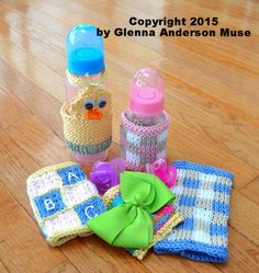 Baby Bottle Cozy KNITTING PATTERN for Short & Tall Bottles by GlennaAndersonMuse on Etsy