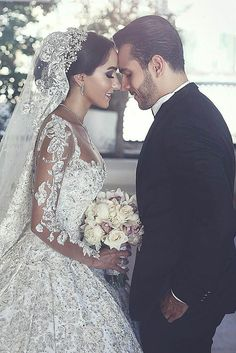 Long Sleeves Arabic Wedding Dresses With Long Train Robe De Mariee Sexy Sheer Neck Lace Appliqued Beaded Wedding Gowns. Custom Made Designer Wedding Dresses Arabic Wedding Dresses, Beaded Wedding Gowns, Arab Wedding, Dream Wedding Dresses, Bridal Dresses, Wedding Day, Lebanese Wedding Dress, Wedding Venues, Wedding Bride
