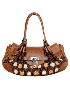 Crochet raffia-and-leather bag, Moschino, $1,840