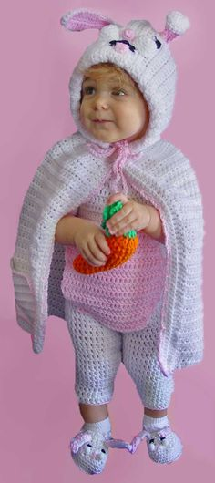 Design By: Marie Murray & Rosemarie Fagan Skill Level: Easy Size: months & months Materials: Yarn needle; Worsted Weight Yarn: CAPE months: White (W) – 10 oz m); Pink (P) – 2 oz m) CAPE months: White (W) – 14 oz m); Pink (P) – 3 oz m); Holiday Crochet, Easter Crochet, Crochet Bunny, Crochet For Kids, Crochet Crafts, Crochet Projects, Knit Crochet, Scrap Crochet, Baby Patterns
