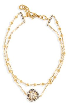 Free shipping and returns on Nadri 'Boho' Semiprecious Stone Multistrand Bracelet at Nordstrom.com. A faceted semiprecious stone traced with sparkling cubic zirconias anchors an heirloom-inspired bracelet plated in 18-karat gold and peppered with luminous baubles.