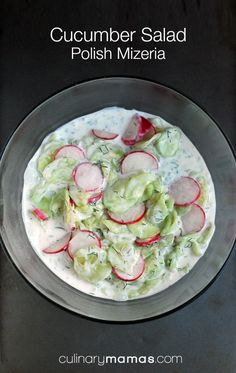 Cucumber Salad - Polish Mizeria Have a garden brimming with cucumbers? This recipe for cucumber salad - Polish mizeria - is a delicious way to eat up numerous cucumbers at one meal. Cucumber Recipes, Cucumber Salad, Veggie Recipes, Healthy Recipes, Czech Recipes, Ethnic Recipes, Polish Recipes, Polish Food, Polish Nails