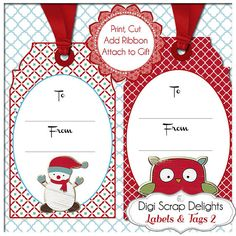 50% Off Sale Printable Christmas Labels & by DigiScrapDelights #printable #tags #gifttags #labels #christmas