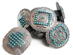 Navajo silversmith Sunshine Reeves made this magnificent concho belt. He calls it his sampler because each piece has been fashioned with a different stamped design.