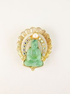 Vintage Brooch with Faux Jade Buddha and Rhinestones by FairSails