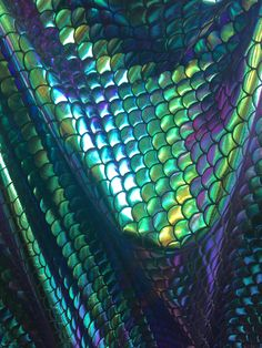 4 way stretch iridescent mermaid fish scales purple, green , gold and turquoise foil spandex fabric sold by the yard [not washable] by on Etsy Mermaid Scales, Fish Scales, Reptile Scales, Mermaid Tails, Purple Snake, Green And Purple, Teal, Blue, Shizuka Joestar