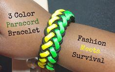 3 Color Paracord Bracelet - Jamaican Colors