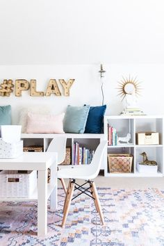 playroom, kids space, stylish playroom, media room, organization, storage, play table