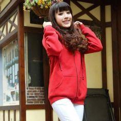 J41734 Autumn mustache pattern hooded fleece coat red