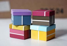 DIY Projects Made With Paint Chips - Paint Swatch Boxes - Best Creative Crafts, Easy DYI Projects You Can Make With Paint Chips - Cool and Crafty How To and Project Tutorials - Crafty DIY Home Decor Ideas That Make Awesome DIY Gifts and Christmas Presents for Friends and Family http://diyjoy.com/diy-projects-paint-chips