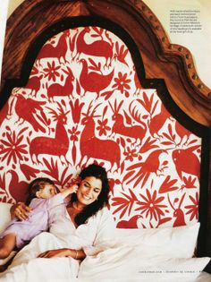 and this is a photo of the headboard from Cookie Magazine in 2005 that inspired Grace to build her own otomi headboard