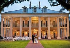 photo of Oak Alley                                Plantation decorated and glowing for a                                night wedding if-i-could-have-any-house