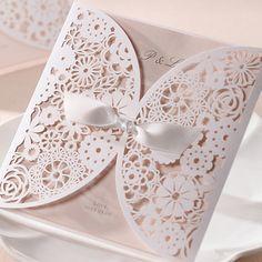 B Hands Card 1 Sample Set Wedding Invitations Satin Ribbon Laser Cut BH2065   eBay