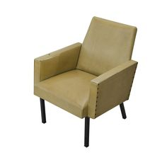 ERSA Armchair_____This leather armchair with armrests in cream was designed by Metin Atabey Ata in the 1950s. It has box profile legs and the upholstery is stabled. Its made up of plain lines. Today, it is preserved at the ERSA firm.