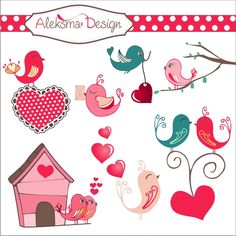 Lovely set of 6 images with birds and hearts. Perfect for invitations, cards, scrapbooking, etc.  Format: EPS version 8, transparent PNG 300dpi and JPEG 300dpi.  License information: