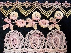 Hand Dying Lace/Motifs, Ribbons and Threads Tutorial a very clever idea of making the lace look like embroidery