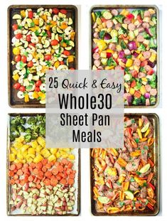 25 Quick and Easy Sheet Pan Meals - meals have never been easier with these super delicious sheet pan meals! Quick, easy prep, and no fuss clean up! Whole 30 Meal Plan, Whole 30 Diet, Paleo Whole 30, Whole 30 Meals, Whole 30 Vegetarian, Whole 30 Lunch, Whole Food Diet, One Week Meal Plan, Whole 30 Snacks