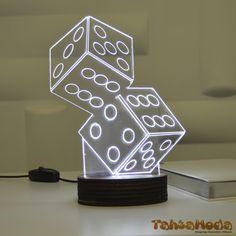 Tahtamoda 3D 3 Boyutlu Dekoratif Led Lamba Zar Şans- tht3d1