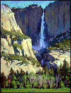 Falls in Shadow, Yosemite - Pastel Painting by Terri Ford