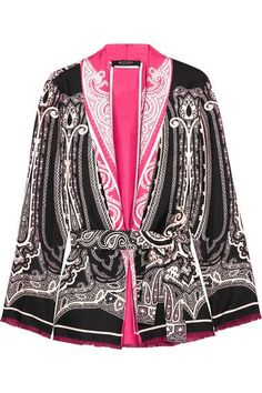 Etro - Fringed Printed Silk-satin Kimono - Black