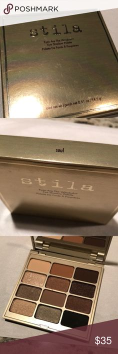 Stila Eyes of the Window Palette, SOUL NEW / UNOPENED   Soul shades include: •Light (soft peach matte) •Individual (medium warm rust brown matte) •Being (deep warm brown matte) •Kitten (light champagne shimmer) •Affection (medium copper shimmer) •Character (deep coppery brown shimmer) •Thought (soft taupe shimmering) •Heart (medium cool brown matte) •Peace (cool brown shimmer) •Vitality (light warm peach shimmer) •Substance (medium grey shimmer) •Essence (charcoal…