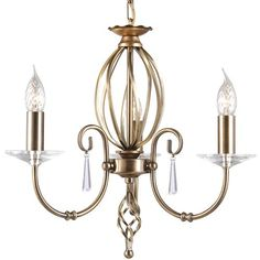 The Aegean Three Arm Aged Brass Chandelier Light with Cut Glass Droplets and Sconces. Elstead Lighting AG3 AB