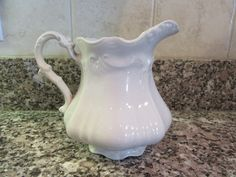 Nice vintage white ironstone pitcher- ornate, John Edwards (England), nicely embossed, great home decor by HeathersCollectibles on Etsy