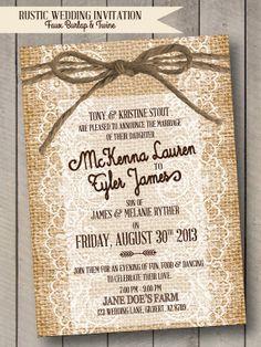 Rustic Wedding Invitation - Burlap, Lace & Twine - Faux Burlap - Digital Print