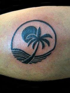 ocean tattoos | Ocean and Palm Tree - - Maria Acevedo - Tattoos & Fine Art
