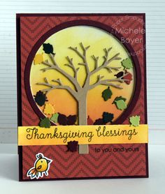 Thanksgiving Blessings card by Michele Boyer for Paper Smooches - Fall Sampler, Feathered Friends stamps and dies, Fall Tree Die