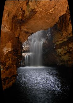 Smoo Cave Waterfall, Scotland - Waterfall within a cave, anyone? The Smoo Cave Waterfall in Scotland is truly a gem.Photo sourced here. Oh The Places You'll Go, Places To Travel, Places To Visit, Beautiful World, Beautiful Places, Amazing Places, Les Cascades, Beautiful Waterfalls, Belle Photo