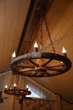 Люстра колесо из дерева