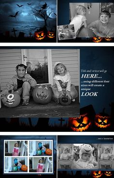 """For the little Frankenstein's Monsters and crypt keepers that may like to keep things a bit more creepy on Halloween night, our digital scrapbook layout, """"Graveyard Smash"""", will certainly keep things spooky!"""