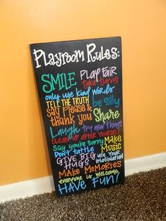 """Hand Painted """"Playroom Rules"""" Wooden Sign - by ArtByGillian on Etsy"""