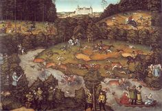 The deer hunting - Lucas Cranach the Elder    Women in the bottom right with crossbow shooting
