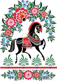 Городецкий конь 1 (трафарет, малая картинка)