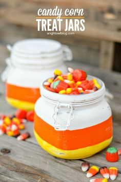 Candy Corn Treat Jars -- Use a simple dollar store container to transform your jars into a fun treat jar for Fall. Makes great holiday decor too!
