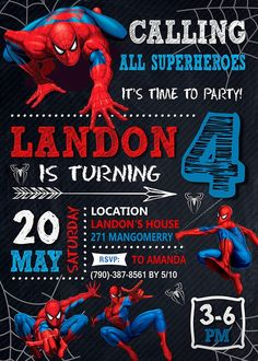 Spiderman Invitation Invite Birthday Party Printable Card Digital