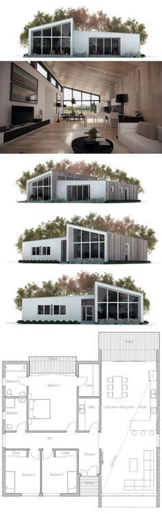 Eliminate two front bedrooms to constrict sq ft? Small House Plan, Floor Plan, Modern Architecture