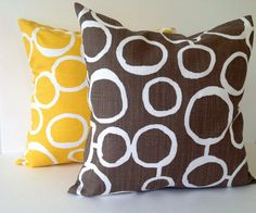 BROWN & YELLOW with white2 SET Decorative by TwistedBobbinPillows, $30.00