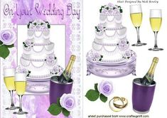 Lilac iced wedding cake with rose and champagne on Craftsuprint - Add To Basket!