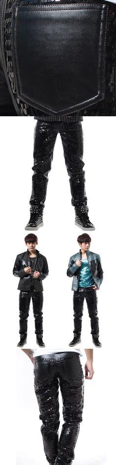 New Male black Paillette Leather Pants slim casual pants punk dj costume trousers Stage show dance wear