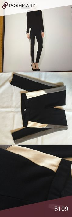 Leather Tuxedo Stripe Legging Love Zooey, Leather Tuxedo Stripe Legging, color:black/Grey/Cream, made in the USA, Contrast:100% Leather, 98% Cotton/2% Spandex, size S, worn once in great condition Love Zooey Pants Leggings